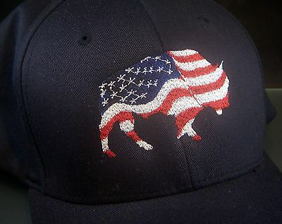 Bison Embroidered Cap With United States Flag!