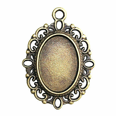 5 ANTIQUE BRONZE TONE OVAL CAMEO CABOCHON SETTINGS 18 x 13mm tray