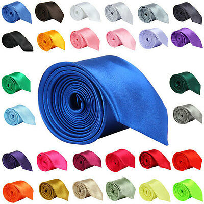 Multicolor Mens Slim Skinny Solid Color Plain Satin Tie Necktie High Quality