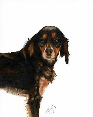 Original Oil Art BRITTANY SPANIEL Portrait Painting DOG Artist Signed Artwork