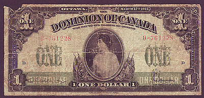 1917  Dominion Of Canada $1  Dollar -  Rare Princess Patricia Of Connaught Note