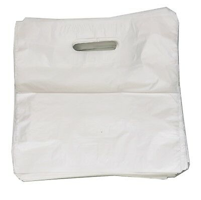 White Plastic Carrier Bags Patch Handle Gift Shopping Strong Plastic Select Qty