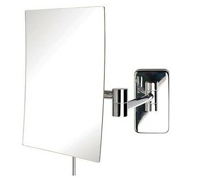 Jerdon JRT695C Wall Mount Rectangular Makeup Mirror, Chrome Finish