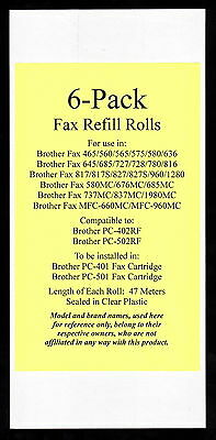 6-pack of Fax Refill Rolls for Brother Fax 465 560 565 575 580 636 645 685 1280
