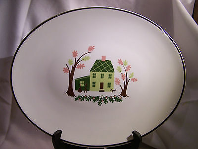 Vintage Platter Colonial House & Oak Trees W/Family By Knowles