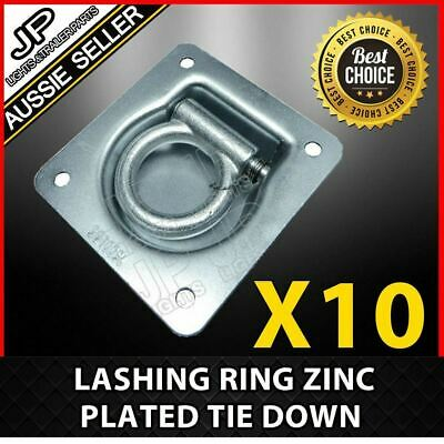 10 X Lashing Ring Zinc Plated Tie Down Points Anchor Ute Trailer 96 X 102Mm