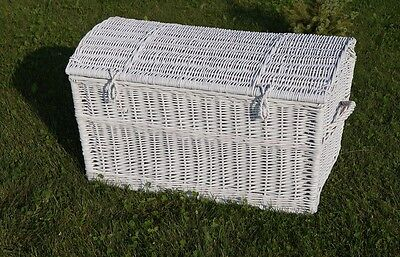 WICKER CHEST STORAGE Trunk Solution Willow Box Toy Linen Large Pirate WHITE