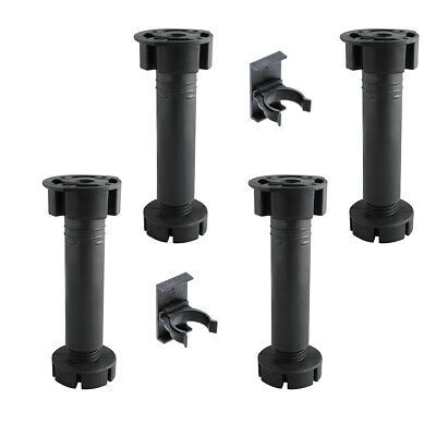 4x KITCHEN CABINET PLINTH FEET/LEGS 150mm + 2 CLIPS - BLACK CARCASE UNIT LEGS