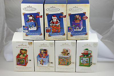 Lot of 7 JACK IN THE BOX MEMORIES SERIES Hallmark Ornaments MIB Tin and Fabric