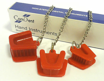 3 Pcs Dental Silicon Mouth Prop Tongue Guard Bite Block Latex Free Chain RED