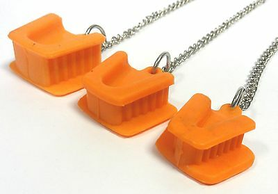3 Pcs Dental Silicon Mouth Prop Tongue Guard Bite Block Latex Free Chain Orange