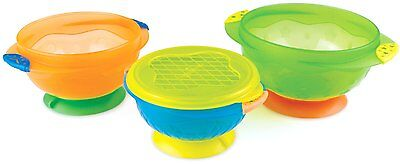 Munchkin 3 Pack Stay Put Suction Bowl Baby Toddler Infant Feeding Cup Food Lid