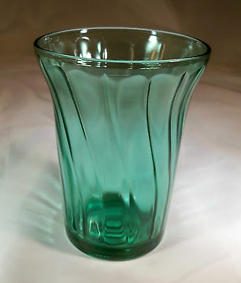 "Jeannette Glass Co. Swirl Ultramarine 4"" Tall 9-Ounce Flat Base Water Tumbler!"