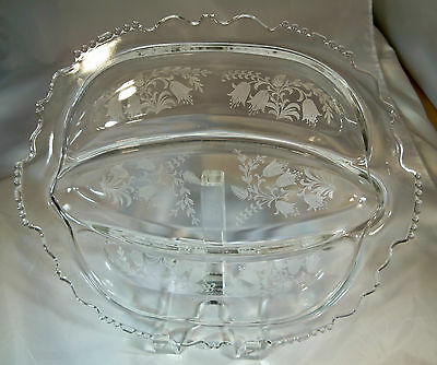 """Tiffin Fuchsia Crystal #5902 12-1/2"""" Handled Oblong 3-Part Divided Relish Dish!"""