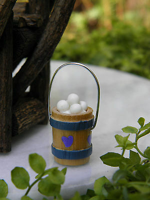 Miniature Dollhouse FAIRY GARDEN Accessories ~ TINY Wood Bucket with Eggs ~ NEW