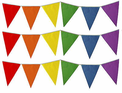 Rainbow Bunting Multi Colour 10 Meter Banner Bright Birthday Party Pennant