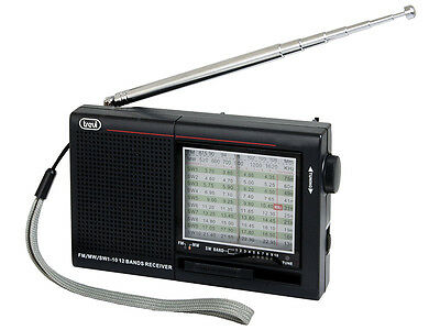 Trevi  Portable 12 Band Radio  FM/MW/SW Finished in Black FREE DELIVERY