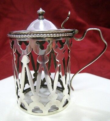 Rare Ornate Antique Sterling Silver Mustard Pot Cup Glass Holder With Lid