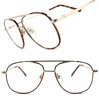 Vintage Retro Classic Old 80's Mens Womens Aviator Clear Lens Glasses Frame E49B