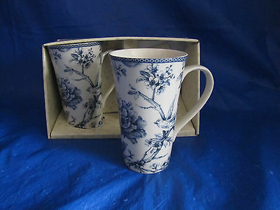 4 pc 222 FIFTH Tall Latte Mugs Cups Blue White Adelaide Toile Bird