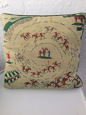 Great Vintage Horserace Derby Horse Scene Throwpillow