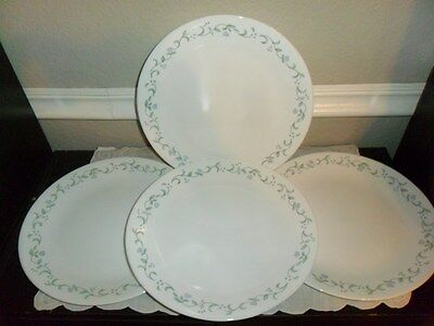 4 Corning Corelle Country Cottage 10 Inch Dinner Plates Lavender Flowers Hearts