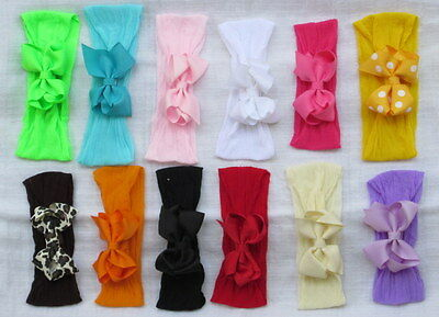 10pcs Boutique Bow Clip Loop Pantyhose NEWBORN Girl Hair Headband Baby Shower