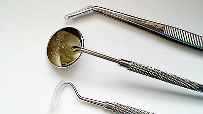 Dental Examination tool set German Steel Probe,Scaler & Plain Mouth Mirror Size5