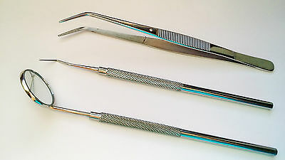 Cleaning kit Probe # 23,Tweezer & Plain Mouth Mirror No 5 Dental Examination kit