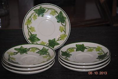 7 Franciscan Cup Saucers 'Ivy'  Made in USA