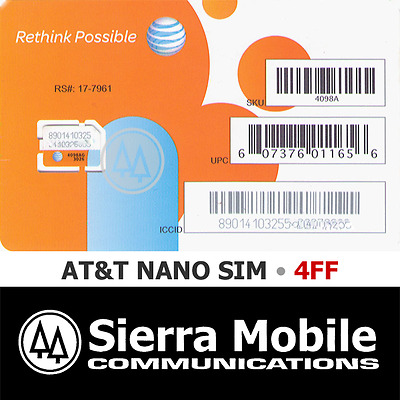 AT&T NANO SIM Card 4FF • GSM 4GLTE • NEW Genuine • Prepaid GoPhone or Contract