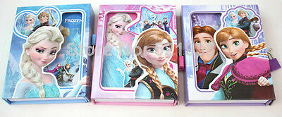 UK STOCK Frozen Book Lock and Key Note book Elsa Anna Gift boxed private journal