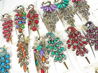 US Seller-$3.75/p, lot of 12 wholesale vintage rhinestone crystal hair clips