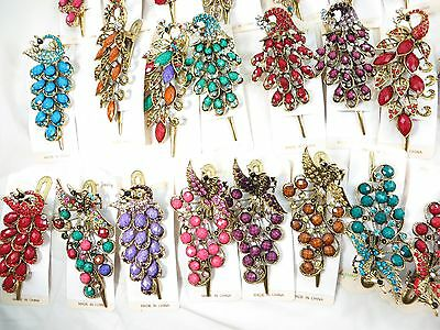 US Seller-lot of 6 hairclips rhinestone crystal peacock  alligator hair clips