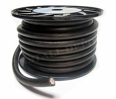 50 FEET - PREMIUM 0 GAUGE BLACK POWER WIRE GROUND CABLE 1/0 AWG CAR AUDIO WIRING