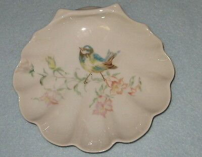 SHELL DISH WITH BLUE BIRD ON BRANCH AND FLOWERS