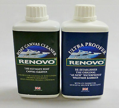 """Renovo Boat / Marine Canvas Cleaner and Ultra Proofer """"KIT""""  2 x 500ml."""