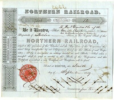 1849 Northern Railroad Company Stock Certificate Boston Massachusetts