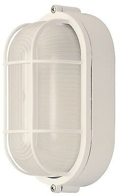 All-Weather Outdoor Bulkhead Oval Marine Exterior Light Frosted Glass, White