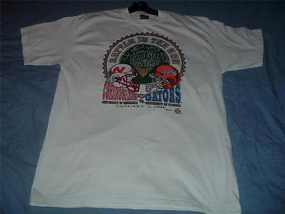 Huskers vs Gators National Championship T-Shirt Adult X-Large White NWT 1995 XL