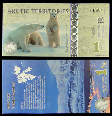 Arctic Territories $1 1/2 Polymer Banknote 2014 UNC