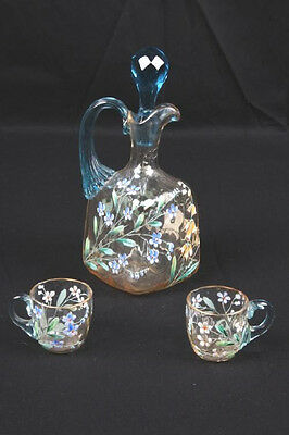 Rare 1880's New England Glass Hand-blown, Hand-painted Cordial Decanter & 2 Cups
