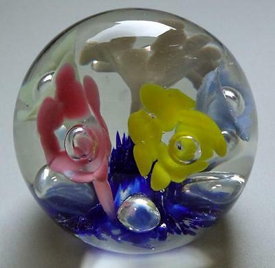 PAPERWEIGHT VINTAGE FLOWERS COLORFUL ART GLASS