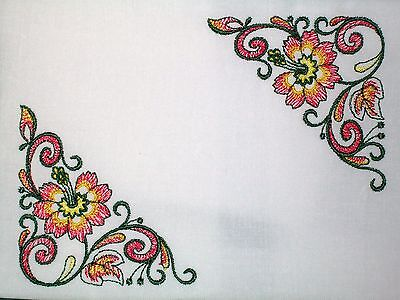 Floral corners embroidered Quilt Label Custom made for quilt tops or blocks