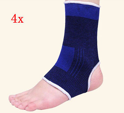 2Pair Blue Elastic Ankle Pull On Support Foot Bandage Brace Guard Wrap Protector