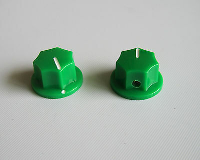 10x Green Small Size MXR Style Skirted AMP Knob Effects Pedal Knobs Brass Insert