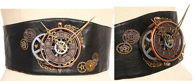 RQ-BL Kunst-Leder Gürtel Steampunk Uhr Mechanical Belt Gothic Punk SP072 B