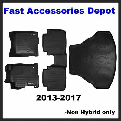 MAXFLOORMAT Floor Mats (2 Rows) and MAXTRAY Cargo Liner Set Black for 2013-2017