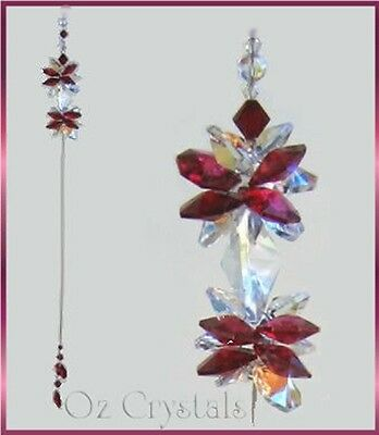 Bordeaux / Red Double Crystal Cluster Suncatcher Made With Swarovski Crystal