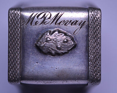 Antique Footed Trapezoid Silver Plate Napkin Ring Raised Leaf & Mcvay Monogram